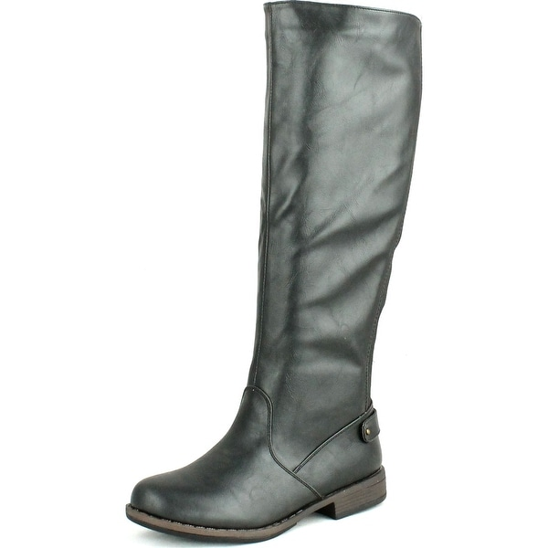 Bamboo Womens Montage-77 Round Toe Equestrian Elastic Back Panel Knee High Riding Boots