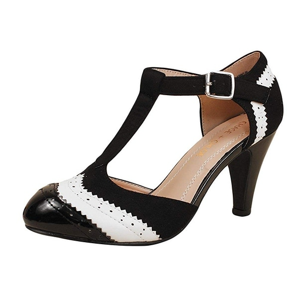 c04e7eee2ab28 Chase and Chloe Kimmy-66 Retro Wingtip Faux Leather Vintage Style Heel Pump