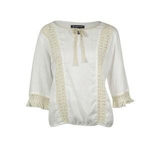 INC International Concept Womens Crochet Detail Blouse - Bright White