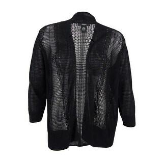 Alfani Women's Plus Size Multi-Stitch Textured Cardigan (2X, Deep Black) - Deep Black