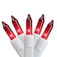 Set of 100 Super Bright Red Mini Christmas Lights - White Wire