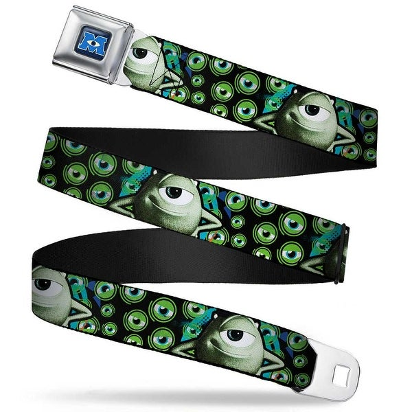Monsters University Logo Full Color Blue White Mike Poses Eyeballs Black Seatbelt Belt