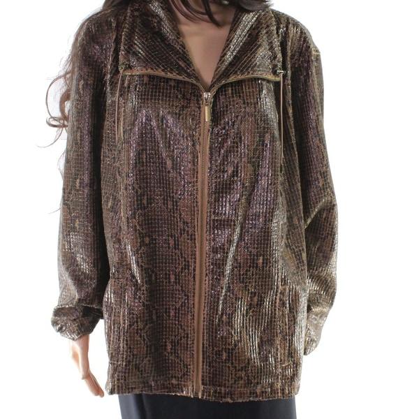Ruby Rd. Brown Women Size 24W Plus Snake Skin Print Textured Jacket