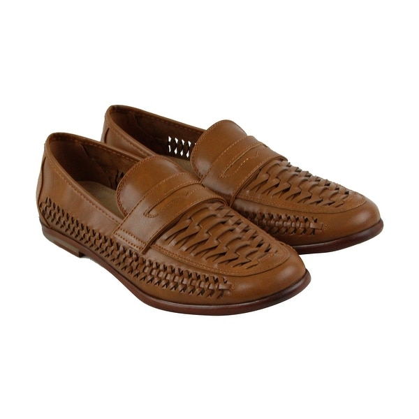 Steve Madden M-Josten Mens Brown Leather Casual Dress Slip On Loafers Shoes