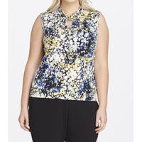 Tahari by ASL Blue Women's Size 1X Plus Jersey Twist Keyhole Blouse