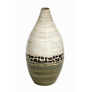 20 Spun Bamboo Vase - Bamboo In Distressed White And Green