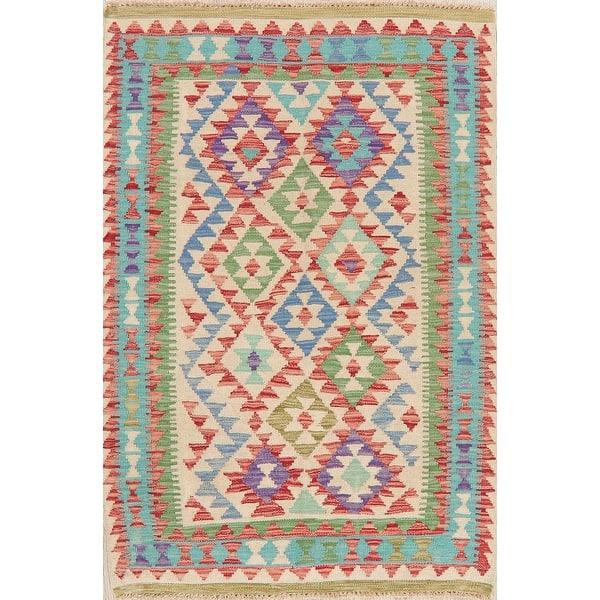 Geometric Kilim Turkish Oriental Kitchen Size Area Rug Wool Flat Woven Overstock 28489913