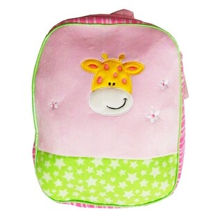 Girls Pink Lime Star Pattern Cow Face Applique Flower School Backpack