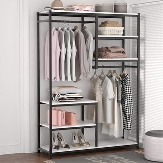 Link to Free-Standing Closet Organizer Double Hanging Rod Clothes Garment Racks Similar Items in Storage & Organization
