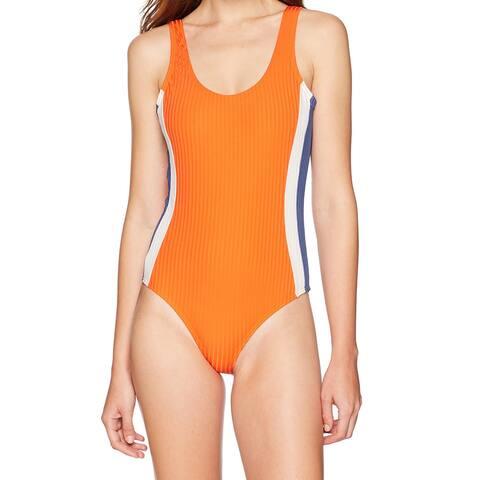 RVCA Orange Womens Size Medium M Colorblock One-Piece Swimsuit