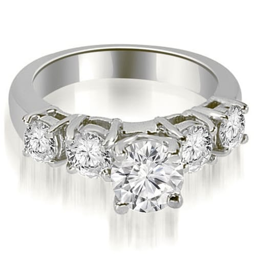 0.95 cttw. 14K White Gold Prong Set Round Cut Diamond Engagement Ring