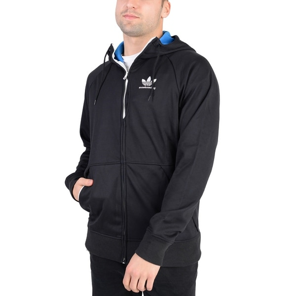 8602a68c4 Shop Adidas Mens Snow Bonded Hoodie Black - Black/Blue - On Sale ...