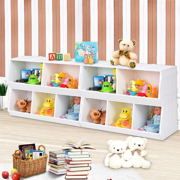 Shop Gymax 2 Set Kids Toy Box Storage Cabinet Flexible Stackable Bookshelf Overstock 23571806
