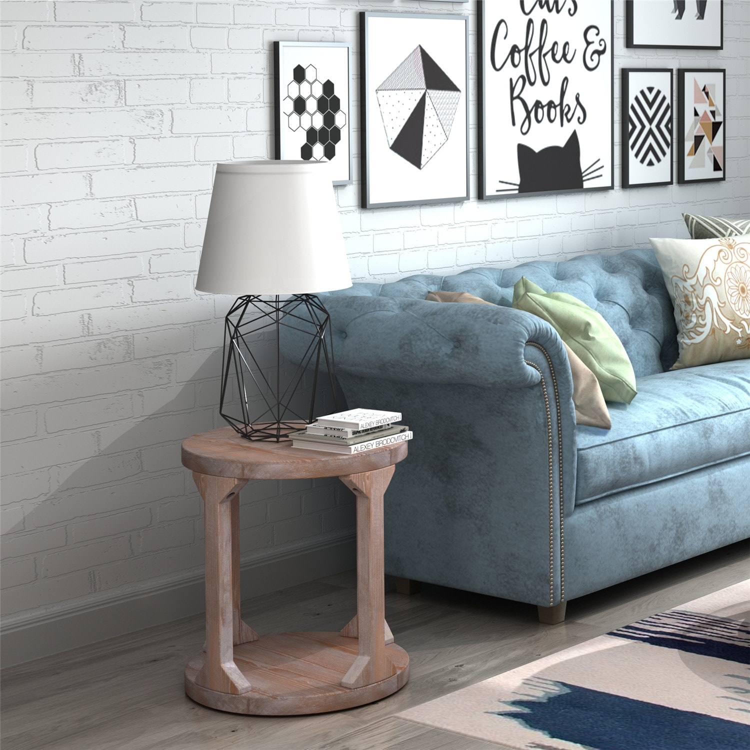 Round Rustic Coffee Table Solid Wood MDF Coffee Table for Living Room