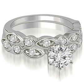 1.40 cttw. 14K White Gold Antique Round Cut Diamond Bridal Set