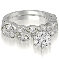 1.65 cttw. 14K White Gold Antique Round Cut Diamond Bridal Set