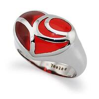 Ladies Heart Stainless Steel Ring w/ Red Resin Inlay