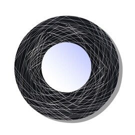"Statements2000 Silver/Black Metal Wall Mounted Mirror Accent Art by Jon Allen - Mirror 120 - Black/Silver - 23"""