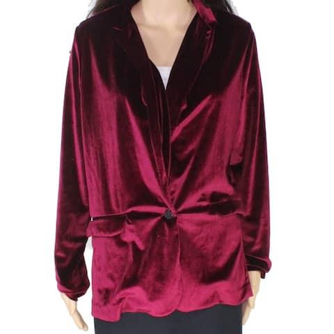 Angie Women's Purple Size Small S Velvet Single Button Blazer Jacket