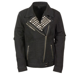 Ladies Studded Black Denim Jacket Zip Front