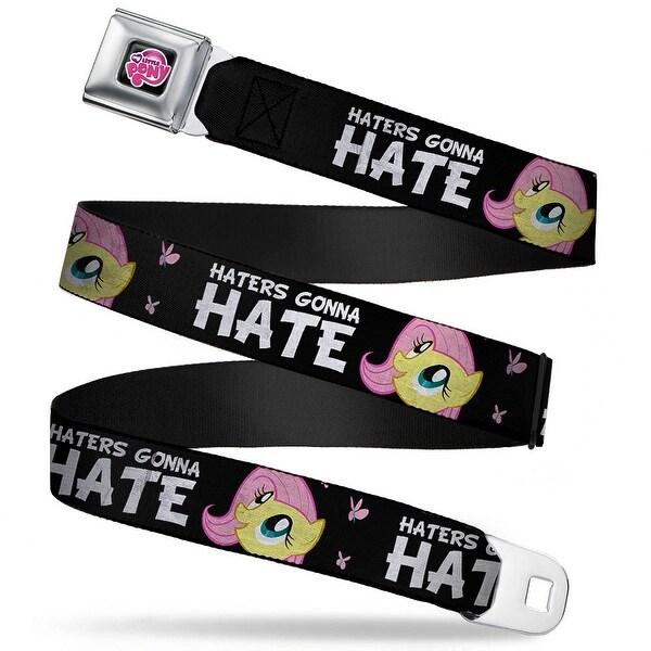 My Little Pony Logo Full Color Black Pink Fluttershy Close Up Haters Gonna Seatbelt Belt