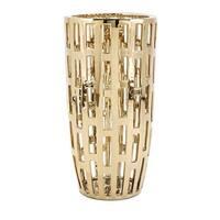 "23.75"" Gold Colored Rectangular Cutwork Decorative Vase with Metallic Finish"