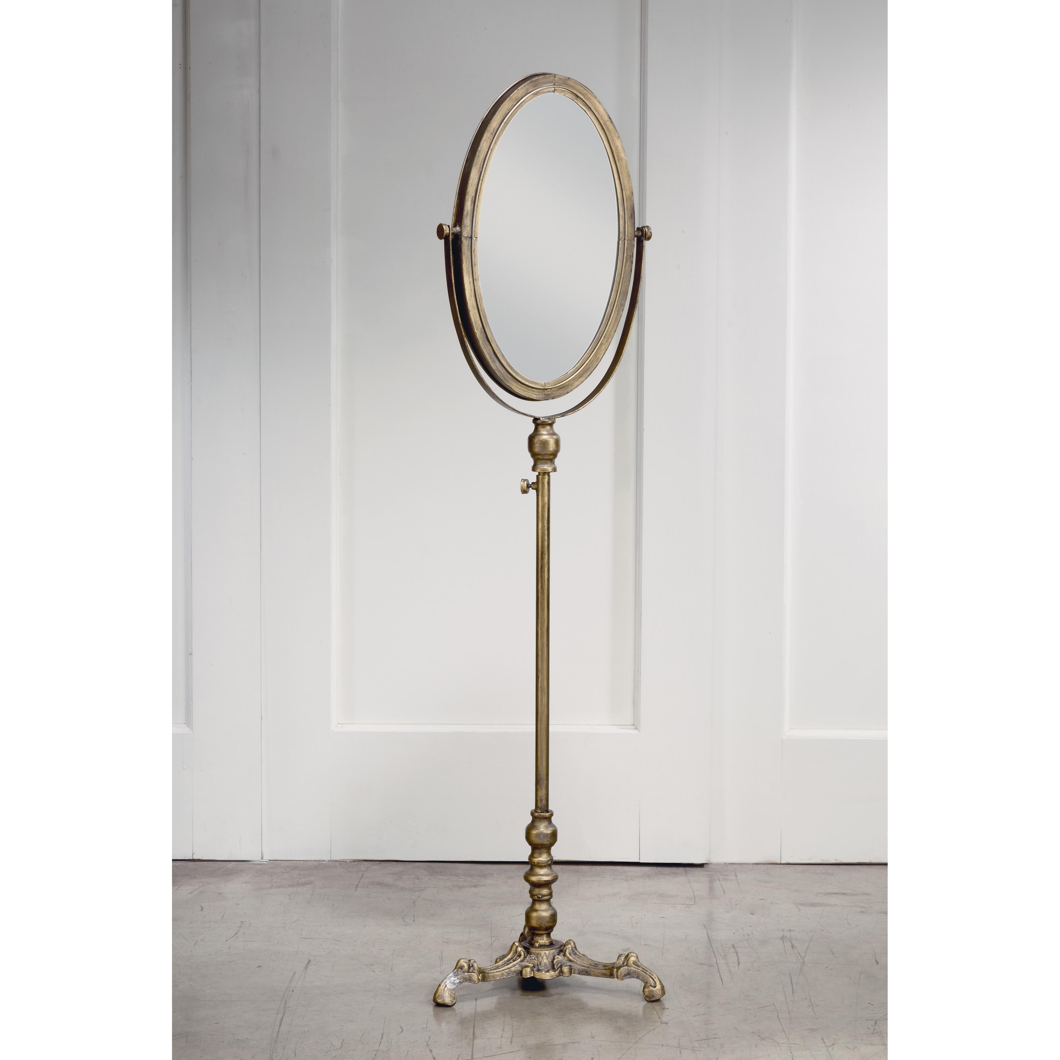 Oval Antiqued Floor Mirror Antique Gold Overstock 27750993