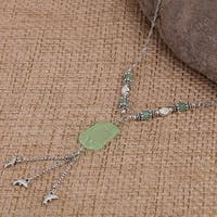 Mad Style Green Sea Glass Necklace W/ Flower Charms