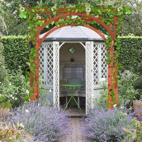 """84.5"""" Outdoor Wood Arbor Natural Finish Arch Trellis Pergola Lattice"""