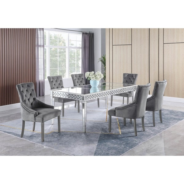 Best Master Furniture 7 Pieces Silver Mirrored Dining Set. Opens flyout.