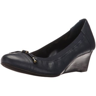 LAUREN by Ralph Lauren Womens Shaylee Leather Closed Toe Wedge Pumps