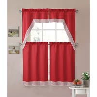 Eleanor 4-Piece Macrame Kitchen Curtain Tier & Swag Set, Red, 27x36 Inches