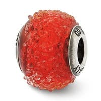 Italian Sterling Silver Reflections Red Textured Glass Bead (4mm Diameter Hole)