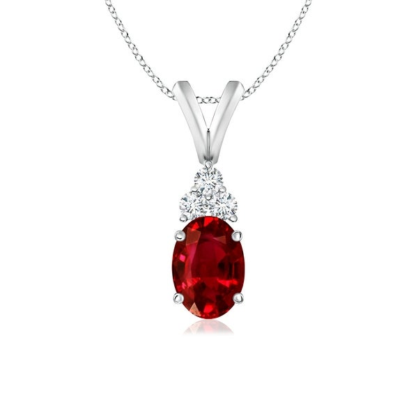Angara Oval Ruby Solitaire Pendant with Diamond 1Z0QmgM