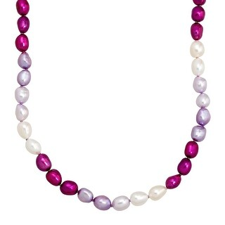 Honora 7-8 mm Purple & White Freshwater Pearl Strand Necklace in Sterling Silver
