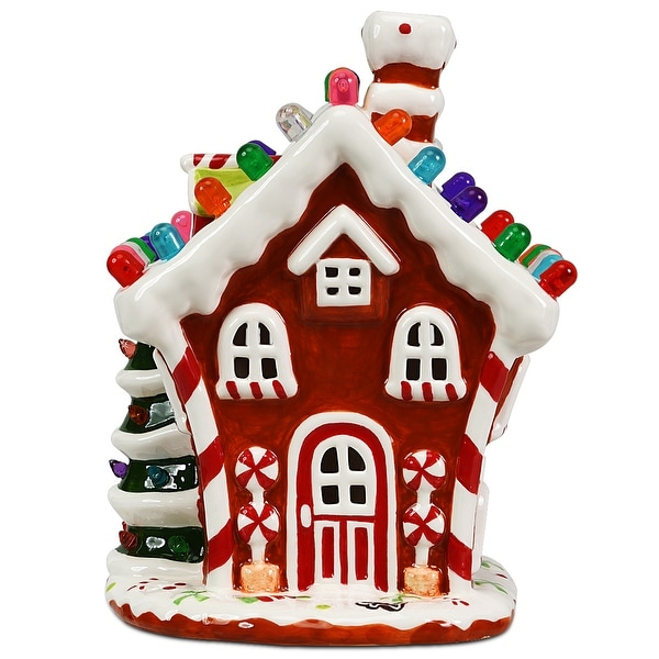 Costway Ceramic Village House Hand-Painted Decor Christmas w/ 44 Multicolored Lights. Opens flyout.