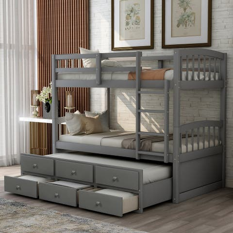 Nestfair Twin Bunk Bed with Ladder Safety Rail Twin Trundle Bed with 3 Drawers