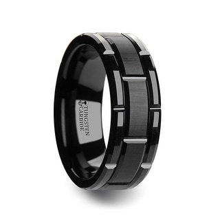 WINDSOR Beveled Black Tungsten Carbide Wedding Band with Brush Finished Center and Alternating Grooves & 10 mm
