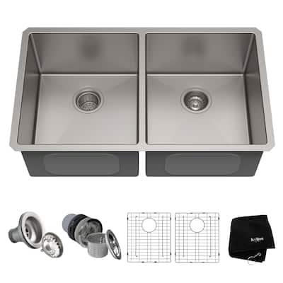 KRAUS Standart PRO Stainless Steel 33 in 50/50 Undermount Kitchen Sink