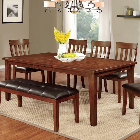 Furniture of America Zevo Transitional Cherry 78-inch Dining Table