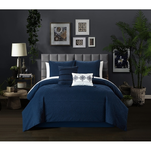 Chic Home Mya 5 Piece Embossed Scroll Pattern Comforter Set. Opens flyout.