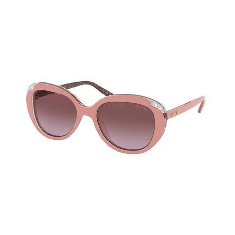 Coach HC8289 55858H 53 Pink Glitter Signature C Woman Round Sunglasses