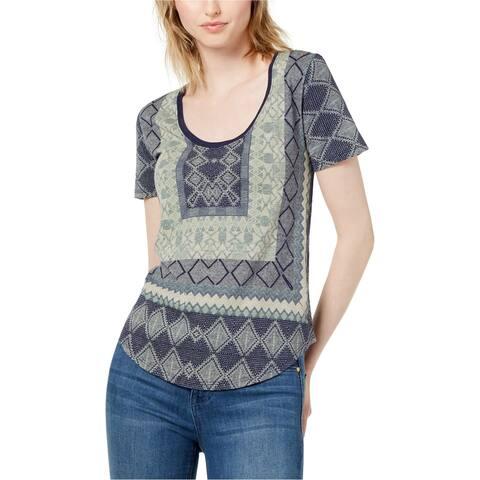 Lucky Brand Womens Border Print Basic T-Shirt, Blue, X-Small