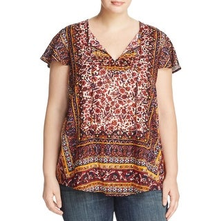Lucky Brand Womens Plus Casual Top Keyhole Border Print
