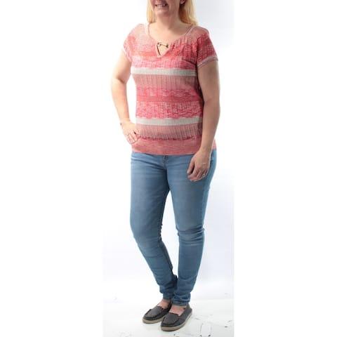 INC Womens Red Glitter Striped Sleeveless Keyhole Sweater Size L