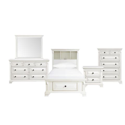 Picket House Furnishings Trent Twin Storage 5PC Bedroom Set in White