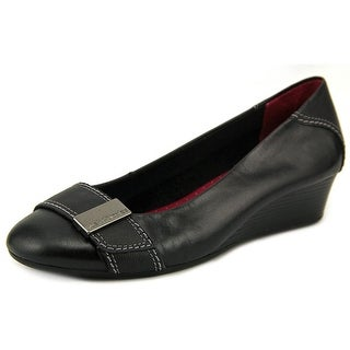 Hush Puppies Candid Pump Women WW Open Toe Leather Black Wedge Heel