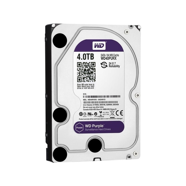 "WD Purple WD40PURX 4TB Surveillance 3.5"" Internal HDD SATA 64 MB Buffer 1Pack"