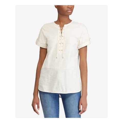 RALPH LAUREN Womens Ivory Lace-up Short Sleeve Tunic Top Size S