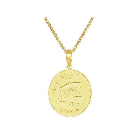 14K Gold Plated Sterling Silver Libra Oval Pendant Necklace